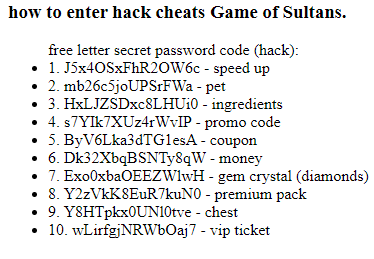game of sultans gift codes