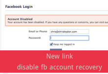 New link disable fb account recovery